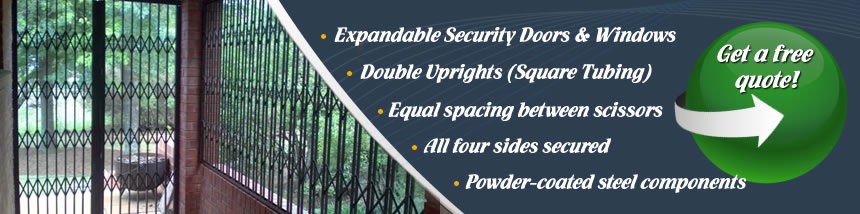 Custom made Expandable Security doors/gates/windows in Pretoria